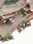 画像1: ブルサ|木版|アンティークオヤスカーフ・シルク糸・細かいイーネオヤ|とうがらし (1)