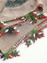ブルサ|木版|アンティークオヤスカーフ・シルク糸・細かいイーネオヤ|とうがらし