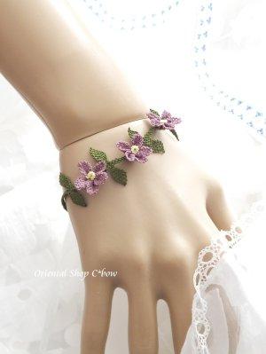 画像1: シルクイーネオヤブレスレット|3つ花|ラベンダー