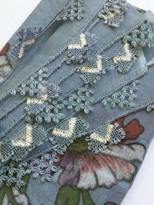 画像1: 東アナトリア・エラズー|アンティークオヤスカーフ|シルク糸イーネオヤ|グレーブルー|つがいのアーモンド