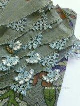 東アナトリア・エラズー|アンティークオヤスカーフ|シルク糸イーネオヤ|ダークモスグリーン|扇