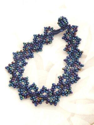 画像1: ボンジュックオヤブレスレット|芝生|ブルー玉虫系