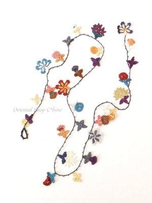 画像4: カラフルフラワー☆ラリエット&ロングネックレス 86cm|A
