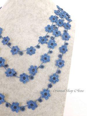 画像3: 3連お花☆ボンジュックオヤネックレス|アンティークブルー