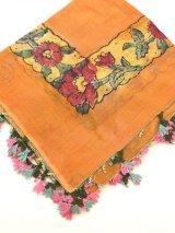 ブルサ|木版アンティークオヤスカーフ(薄い)・シルク糸イーネオヤ|テラコッタ|BR7