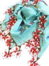 ◆ブルサ:イズニック|アンティークオヤスカーフ|ターコイズブルー