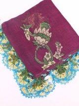 イズニック|アンティークオヤスカーフ・大ぶりイーネオヤ(シルク糸)|ボルドー