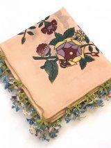 ブルサ:イズニック|花に虫付き☆アンティークオヤスカーフ|大きなイーネオヤ(ナイロン糸)|Z11