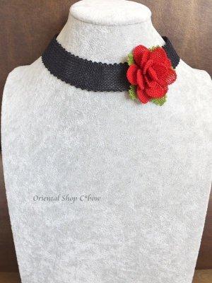 画像1: シルクイーネオヤネックレス 赤いバラのチョーカー