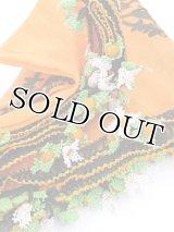わけあり|ナウルハン|アンティークイーネオヤスカーフ|シルク糸|花付きオレンジ