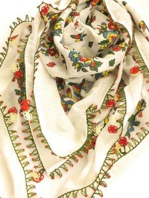 画像1: ナウルハン アンティークイーネオヤスカーフ シルク糸 オフホワイト イチドル 朝顔