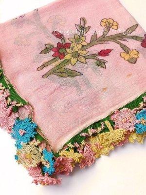画像1: ベルガマ・コザック地区|木版アンティークオヤスカーフ|シルク糸イーネオヤ|コロナ太陽モチーフ