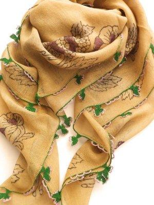 画像1: ブルサ|木版アンティークオヤスカーフ・シルク糸イーネオヤ・細かい|BR12
