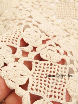 画像4: ヴィンテージ・花嫁道具のダンテル(ドイリー)|コットン|オフホワイト|D