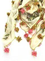 イズミット|アンティークオヤスカーフ|イーネオヤ|2段:ピンク×モスグリーン