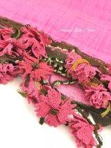 アイドゥン|アンティークオヤスカーフ|シルク糸|菊|ピンク