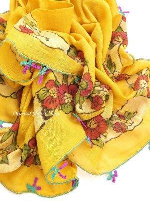画像3: ブルサ|木版アンティークオヤスカーフ・シルク糸|からしイエロー|茄子