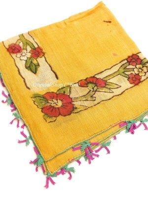 画像1: ブルサ|木版アンティークオヤスカーフ・シルク糸|からしイエロー|茄子