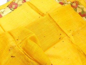 画像4: ブルサ|木版アンティークオヤスカーフ・シルク糸|からしイエロー|茄子