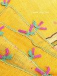 画像2: ブルサ|木版アンティークオヤスカーフ・シルク糸|からしイエロー|茄子 (2)