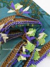 ナルルハン|アンティークイーネオヤスカーフ|シルク糸|茄子|ピーコックグリーン