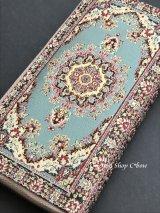 トルコ絨毯柄|ファスナー長財布|シアン系