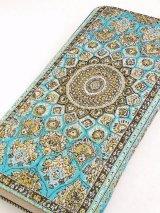 トルコ絨毯柄|ファスナー長財布|スカイブルー系