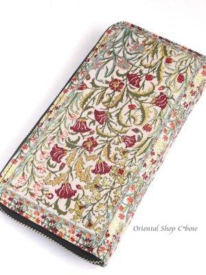 画像1: トルコ絨毯柄|ファスナー長財布|カーネーション