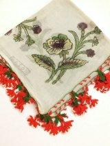 ブルサ|木版アンティークオヤスカーフ・シルク糸イーネオヤ|アッシュグレー