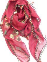 ナウルハン|アンティークイーネオヤスカーフ|シルク糸|クヌギの葉|ワインレッド