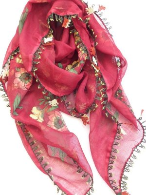 画像1: ナウルハン|アンティークイーネオヤスカーフ|シルク糸|クヌギの葉|ワインレッド