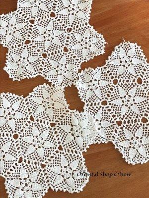 画像1: ヴィンテージ・花嫁道具のダンテル(ドイリー)|コットン|ホワイト3枚