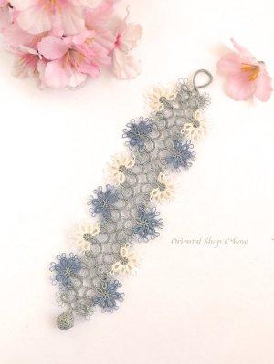 画像2: スペシャル☆メキッキオヤブレスレット|お花グレー系