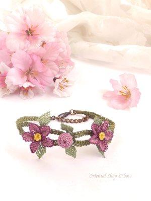画像2: シルクイーネオヤブレスレット お花と実 ライラック系