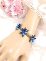 シルクイーネオヤブレスレット|3つ花二色|ブルー系