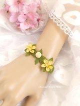 シルクイーネオヤブレスレット|お花と実|クリームイエロー系