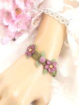 シルクイーネオヤブレスレット|お花と実|ライラック系