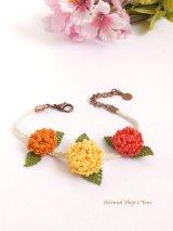 シルクイーネオヤブレスレット|3つ花|紫陽花のようなベリー|三色暖色系