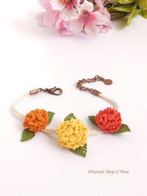 画像1: シルクイーネオヤブレスレット|3つ花|紫陽花のようなベリー|三色暖色系
