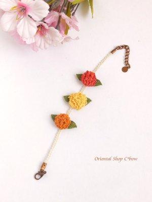 画像3: シルクイーネオヤブレスレット|3つ花|紫陽花のようなベリー|三色暖色系