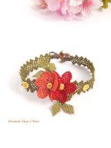 シルクイーネオヤブレスレット|エレガント二色花|レッド系