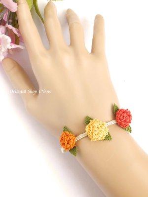 画像2: シルクイーネオヤブレスレット|3つ花|紫陽花のようなベリー|三色暖色系