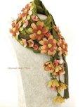 画像11: 一点物・豪華絢爛★作り込まれたお花★アシンメトリースカーフ|モスグリーン