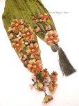 画像9: 一点物・豪華絢爛★作り込まれたお花★アシンメトリースカーフ|モスグリーン