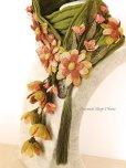 画像6: 一点物・豪華絢爛★作り込まれたお花★アシンメトリースカーフ|モスグリーン