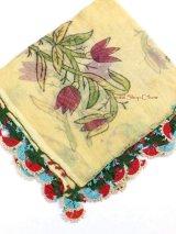 ブルサ:カラジャベイ|キャートヤズマ|木版アンティークオヤスカーフ|シルクイーネオヤ:チューリップ