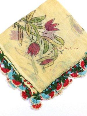 画像1: ブルサ:カラジャベイ|キャートヤズマ|木版アンティークオヤスカーフ|シルクイーネオヤ:チューリップ