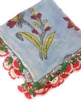 ブルサ:カラジャベイ 木版アンティークオヤスカーフ シルクイーネオヤ:ライトサックスブルー