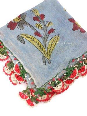 画像1: ブルサ:カラジャベイ|木版アンティークオヤスカーフ|シルクイーネオヤ:ライトサックスブルー