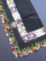 ブルサ:カラジャベイ|薄いキャートヤズマ:木版アンティークオヤスカーフ|シルクイーネオヤ:ブラック